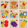 1 Pcs mix Animals Shapes Jigsaw Hot Wooden Toys For Children Baby Kids Intelligence Educational Toys Cartoon Fallout Toy Puzzle