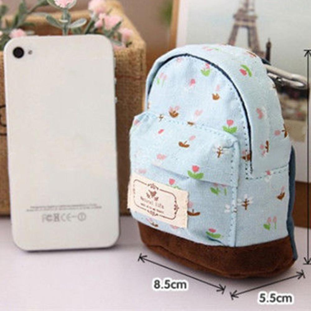 Canvas Small Wallet  Case Coin Card Backpack Flower Purse Zipper Bag Pouch