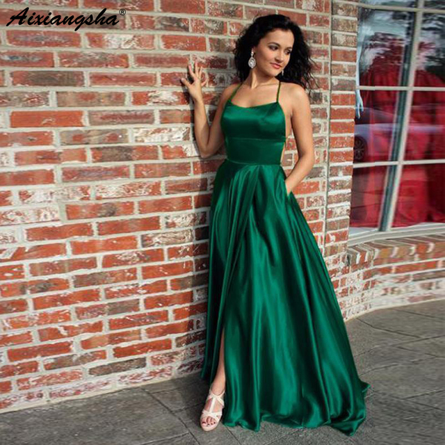 Sexy Halter Backless Side Slit A-Line Long Emerald Green Prom Dresses with  Pockets Satin Dress Party Graduation Dresses baa69571a