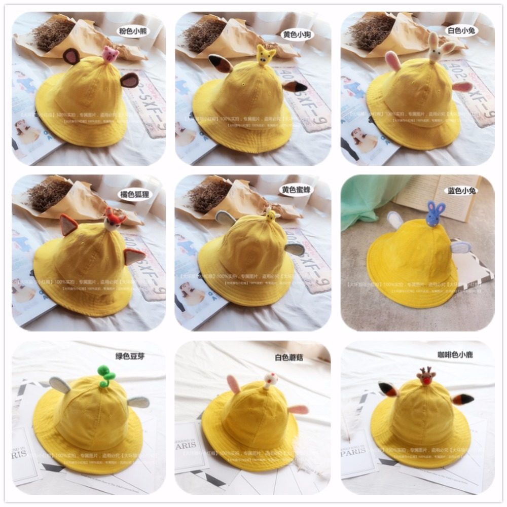 Japanese Lolita Girl Yellow Summer Fisherman Bucket Hat Corduroy Hat Parent-child Rabbit Bear Dog Fox Deer Halloween Cosplay