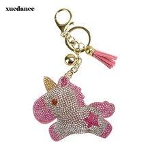 Full Crystal Rhinestone Unicorn Keychain Car keyrings Womens bags Decoration Accessories horse Pendants Cute Animal Gift