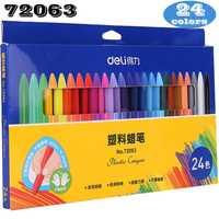 Deli crayon en plastique cire crayon couleur peinture bâtons couleur crayon couleur 12-24 couleurs enfants étudiant caryon