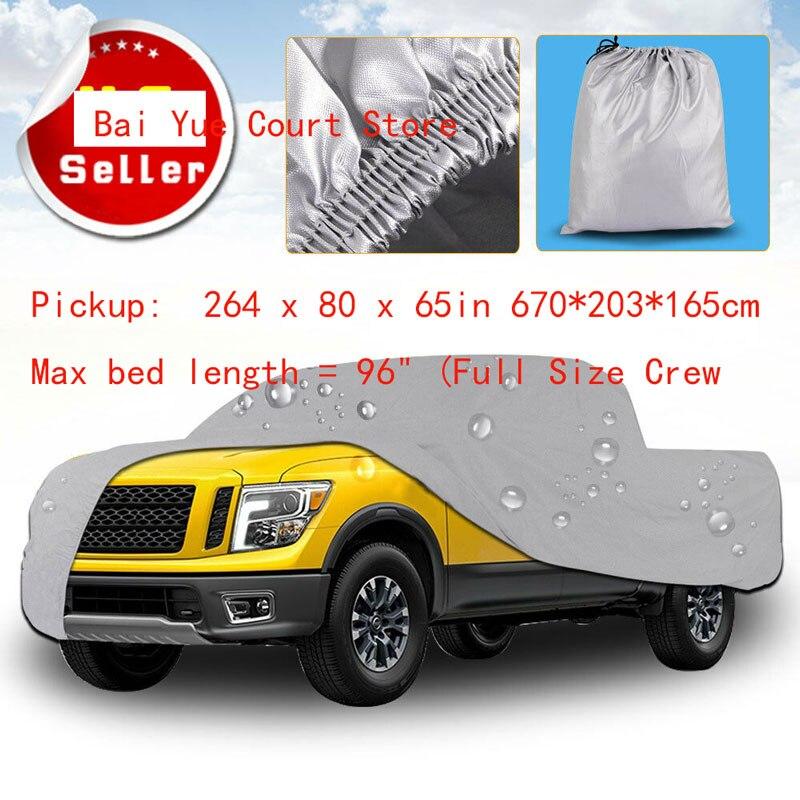 Couverture de camion Premium extérieur résistant à l'eau soleil UV pluie résistant à la chaleur pick-up: 264x80 x 65in 670*203*165 cm