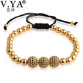 Anil Arjandas 3Color Luxury Zircon 3 pieces Sphere Charm Bracelet Woman Man DIY Bracelets Bangles 6MM Round Bead 10MM Sphere