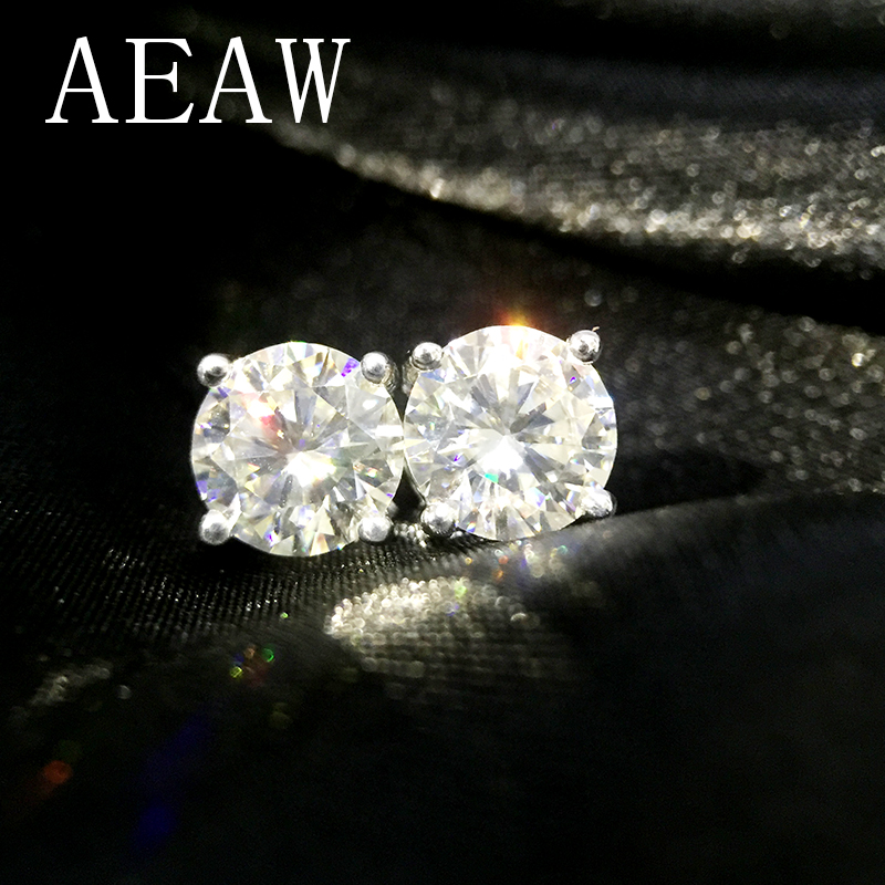 Genuine14K 585 الأبيض الأصفر الذهب ابعاد 2Ctw FG اللون اختبار إيجابي مختبر نمت مويسانيتي الماس أقراط للنساء-في الأقراط من الإكسسوارات والجواهر على  مجموعة 1