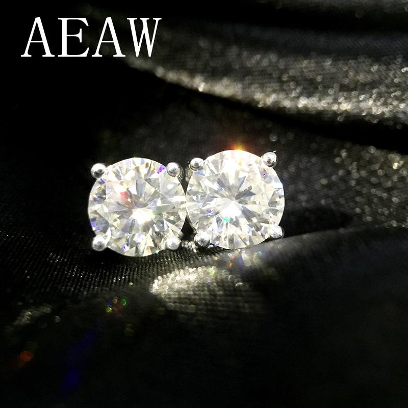 Genuine14K 585 สีขาวสีเหลือง Gold Push Back 2Ctw FG สีทดสอบบวก Lab Grown Moissanite Diamond ต่างหูผู้หญิง-ใน ต่างหู จาก อัญมณีและเครื่องประดับ บน   1