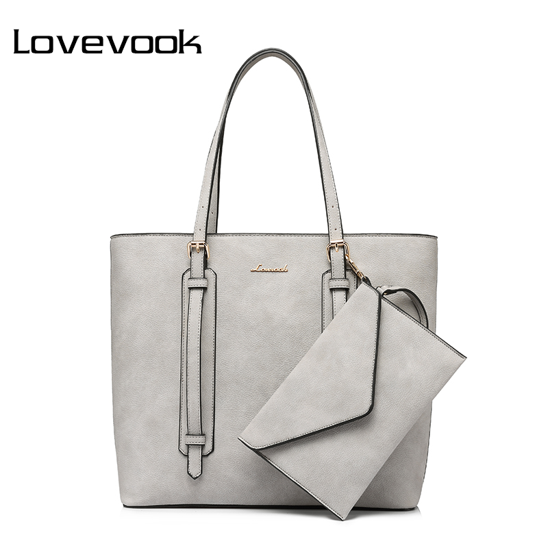 LOVEVOOK brand fashion shoulder bag for women 2017 high quality clutch composite bag zipper large capacity totes new handbags