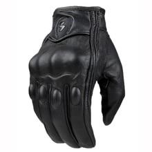 Топ Guantes модные перчатки из натуральной кожи полный палец черный Moto мужчины мотоцикл Прихватки для мангала мотоциклетные Защитное снаряжение Мотокросс перчатки