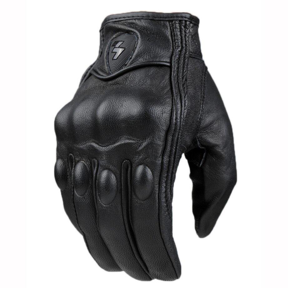 Top Guanti Guanto di Modo di Cuoio reale Full Finger Nero moto uomini Moto Guanti Moto Protettiva Gears Motocross Guanto