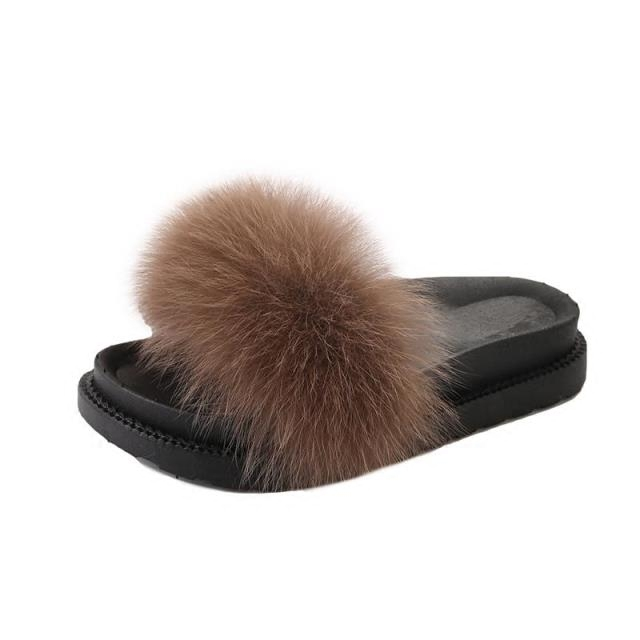 cacef015a125 2018 Women Fur Slippers Luxury Real Fox Fur Beach Sandal Shoes Fluffy Comfy Furry  Flip Flops-in Women s Sandals from Shoes on Aliexpress.com