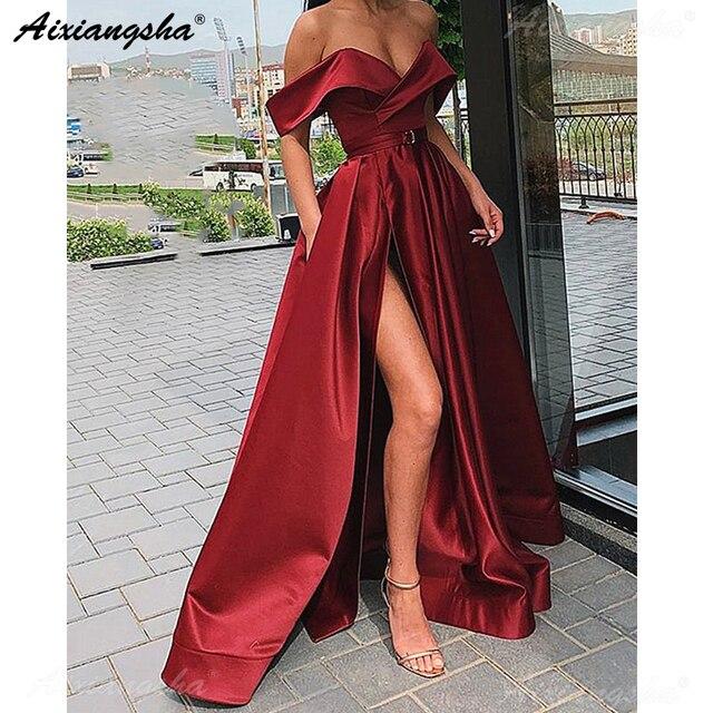 Sexy Weg Von der Schulter Abend Party Kleid Satin Sexy Prom Kleid Burgunder Hohe Schlitz Prom Kleider 2019 Lange vestido fiesta