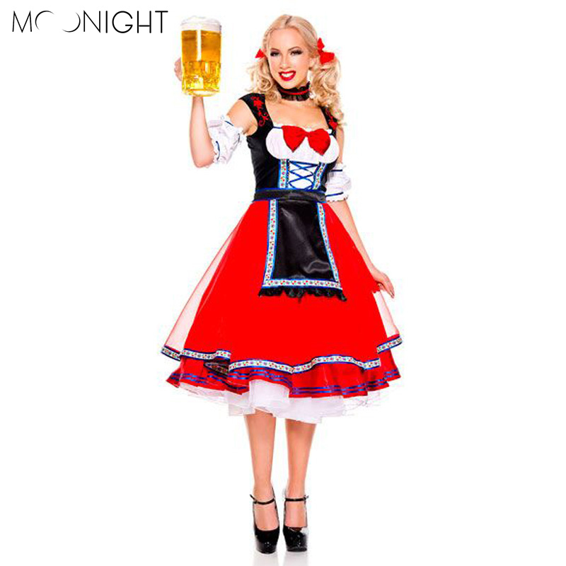 MOONIGHT Womens Traditional German Bavarian Beer Girl Costume Sexy Oktoberfest Festival Carnival Party Fancy Dress