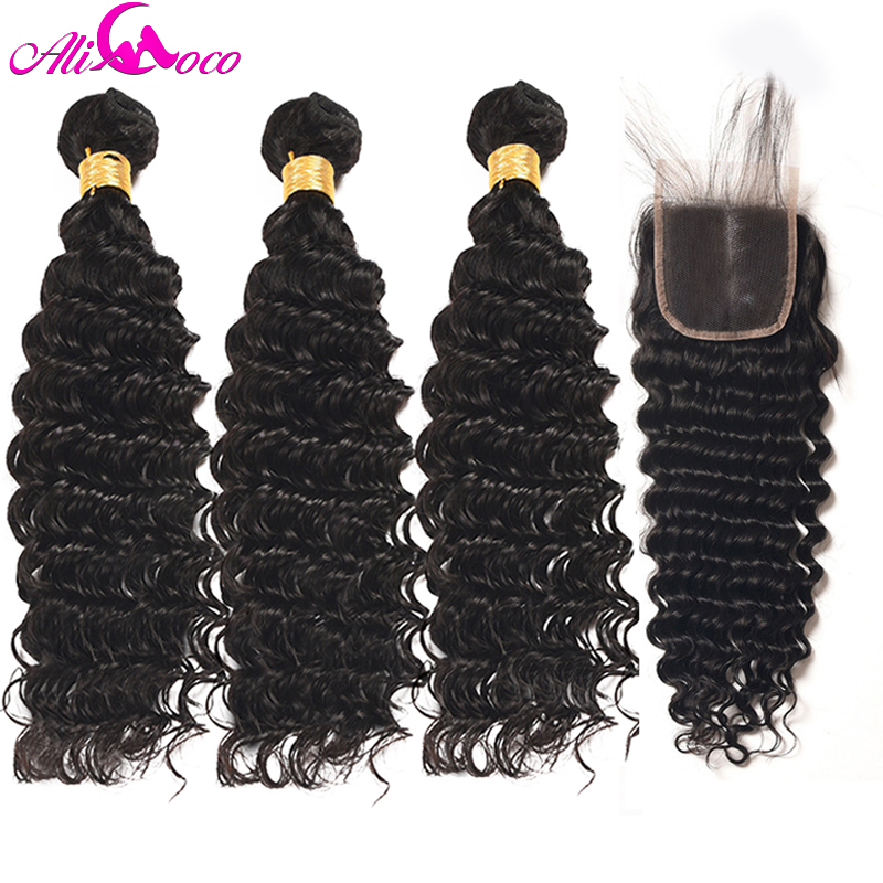 Ali Coco Brazilian Deep Wave 3 Bundles With Closure Middle Part Human Hair Bundles With Closure 4*4 Non Remy Hair Extensions