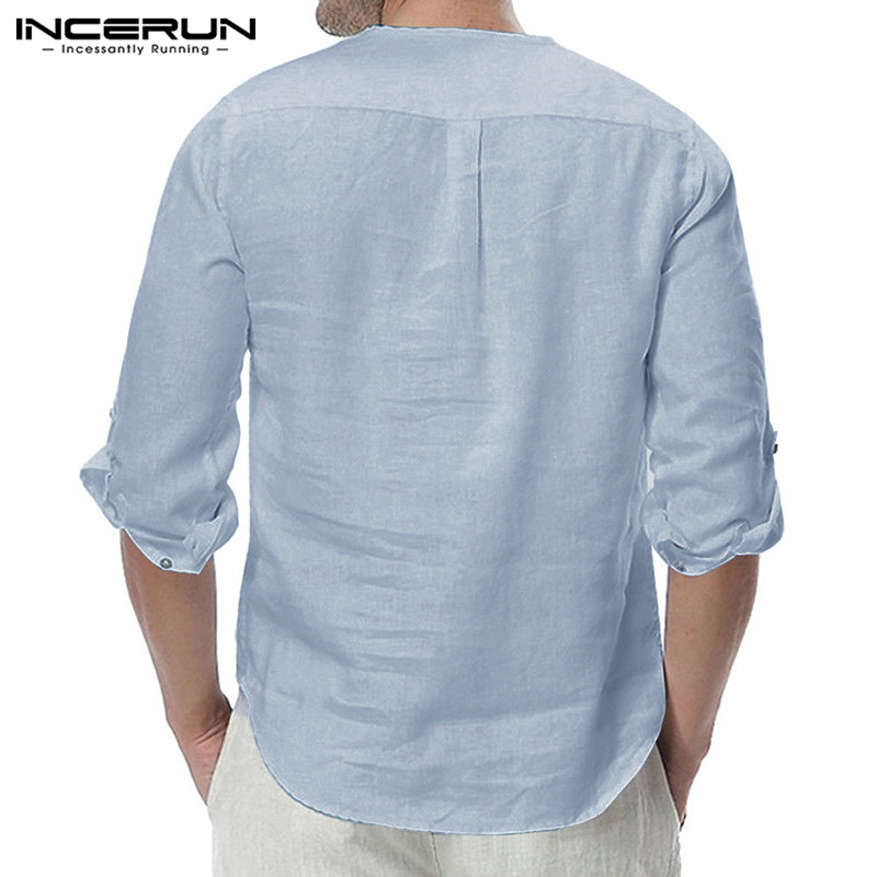 HTB1KpITaoT1gK0jSZFrq6ANCXXa1 - INCERUN Fashion Men Shirt Long Sleeve Cotton Solid Casual Basic Shirt Men Tops