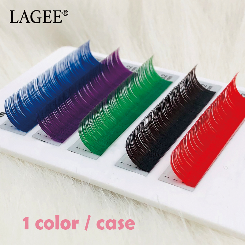 fff6f308337 LAGEE Natural False Fake Colored Eyelashes for Extension Individual Mink Red  Dark Brown Purple Blue Green Rainbow Eye Lash
