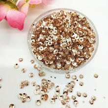 40g(11000pcs) 3mm Champagne Deep Cup Sequins Round Paillette Wedding ,DIY Accessory Rose-Gold Nail Art Confetti(China)
