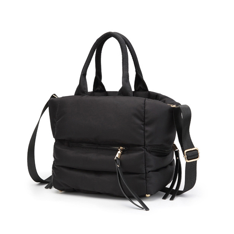Image 2 - LOSLANDIFEN 2020 Fashion Women Winter Space Bale Handbag Casual  Cotton Totes Bag Down Feather Padded Lady Shoulder Crossbody  BagTop-Handle Bags