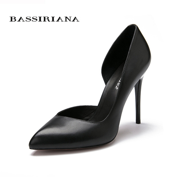 High heels pumps Natural suede leather New spring summer 2017 Red Black 35-40 Fashion Basic shoes woman Free shipping BASSIRIANA 2