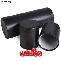 High grade KTV Bar Colorful Gambling Casino Entertainment Straight Leather Dice Cups Shake Cup with acrylic 12 red dices