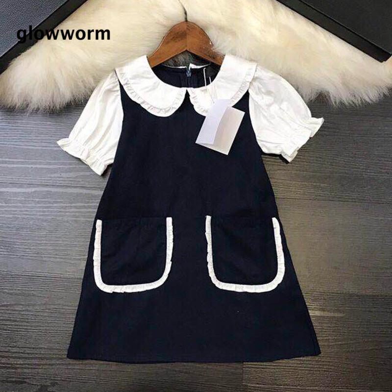GlowwormKids Girls Dress 2018 New Runway College Style Petal Collar Solid Color Pocket Dress Girls Clothes 3-8T hs061 collar color block striped dress