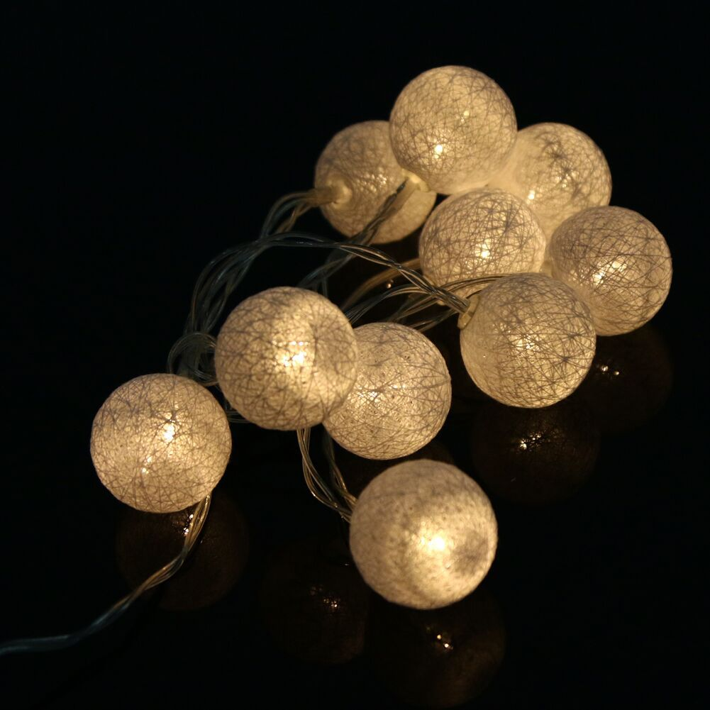 2.3meters 20 Globes White Lantern Handmade Cotton Balls Fairy String Lights Home Decor Party Wedding Battery Operated Galands
