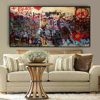 Big Size Woman Graffiti On the Wall Abstract Canvas Painting Posters and Prints Street Art Cuadros Wall Picture For Living Room