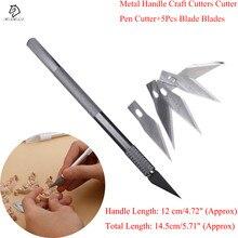 1 set/ Metal Handle Scalpel, Blade Knife Wood Paper Cutter Craft Pen Knives,Engraving DIY craft cutter Hand Tools
