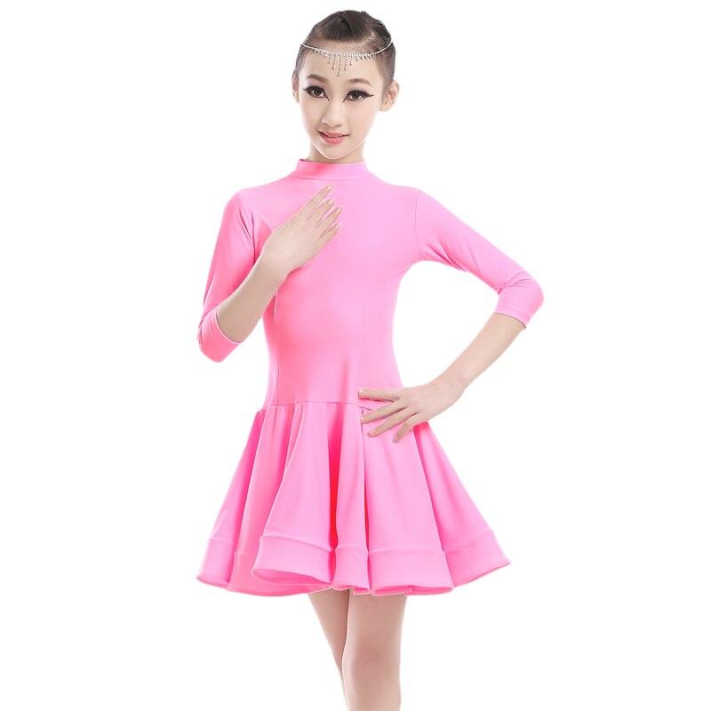 Sexy Turtleneck 3/4 Long Sleeve Spandex Latin Dance Dress Girls ...
