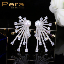 PERA стерлингового серебра 925 Булавки Jewelry Мирко проложить кубического циркония большой фантазии Для женщин уха Серьги-гвоздики с имитацией жемчуга камень E270