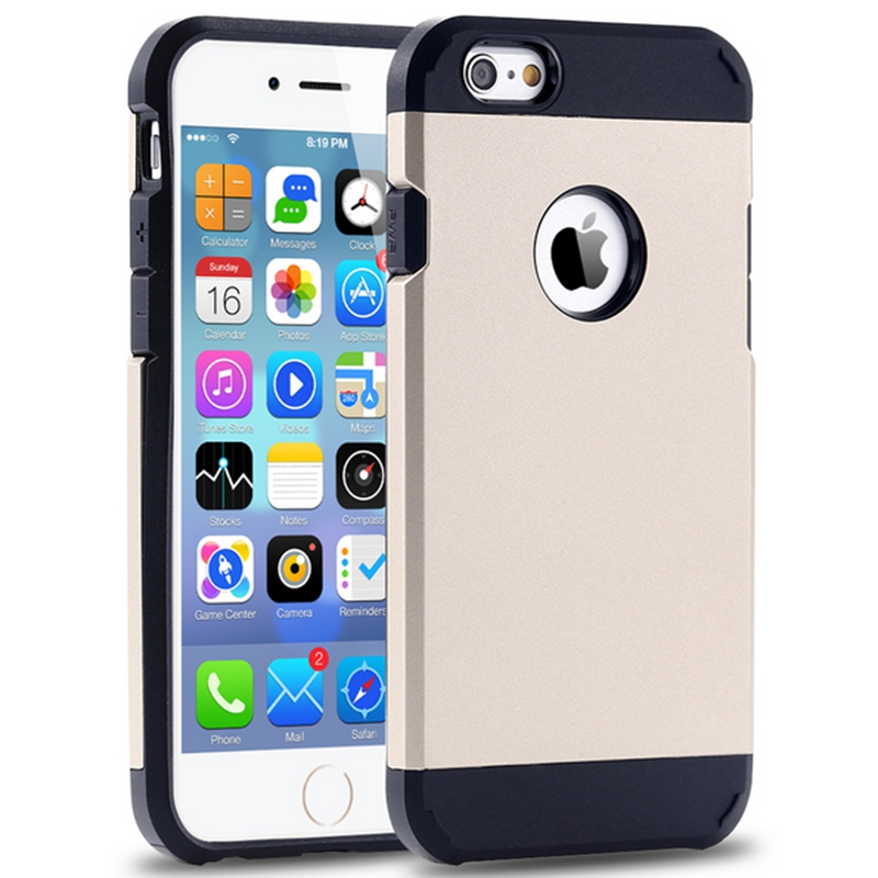 KISSCASE Luxury With Original Logo TPU+PC Hybrid Tough Case For Iphone 4S 5s 6 6s 7Plus Armor Back Cover Silica Gel Case Shell