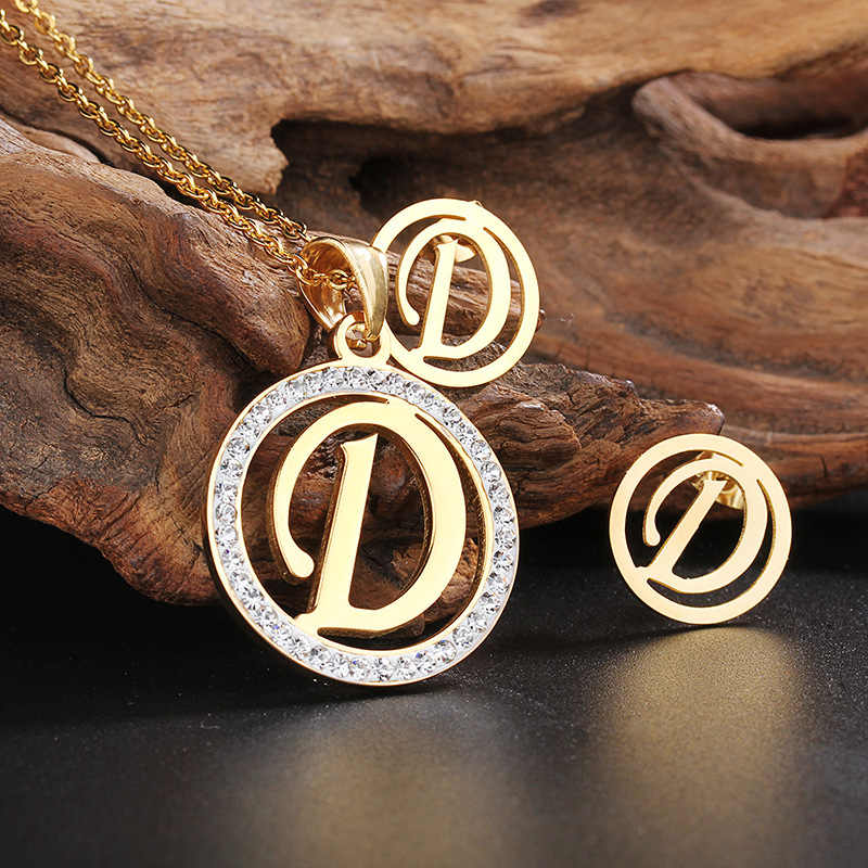 Fashion Women Stainless Steel Letters D CZ Pendant Necklace Earrings Women alphabet Jewelry Set Christmas gift