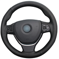 Black Artificial Leather Car Steering Wheel Cover for BMW F10 2014 520i 528i 2013 2014 730Li 740Li 750Li