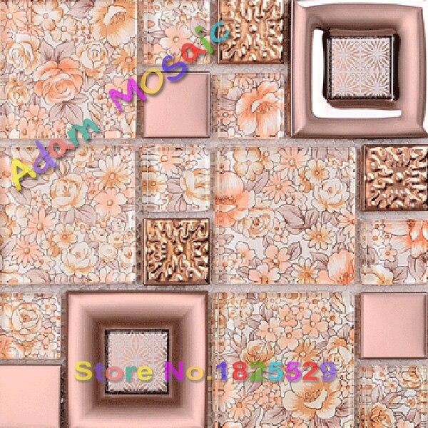 flor de mosaico de vidrio azulejo de la cocina backsplash azulejos de color rosa bao art deco de la pared del metro de material