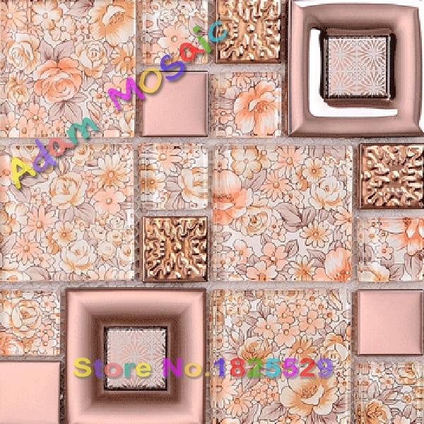 flower glass mosaic tile kitchen backsplash pink tiles bathroom wall ...