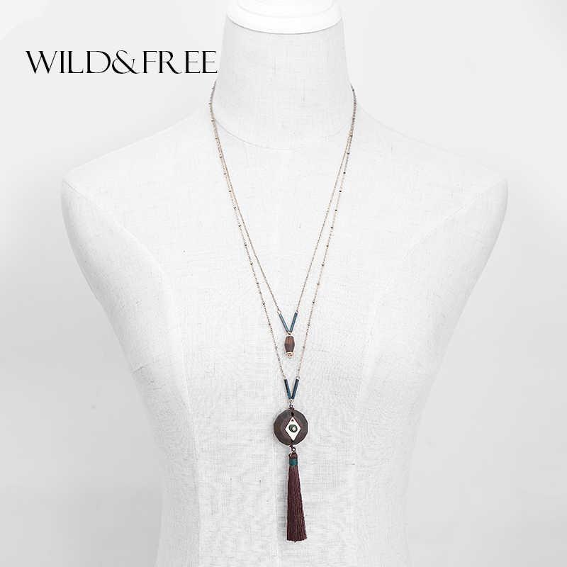 WILD & FREE Nữ Gỗ Vintage Cổ & Mặt Dây Chuyền Cổ Dây Chuyền Vàng Dây Nâu Tua Rua Mặt Dây Chuyền Vòng Cổ Trang Sức Quà Tặng