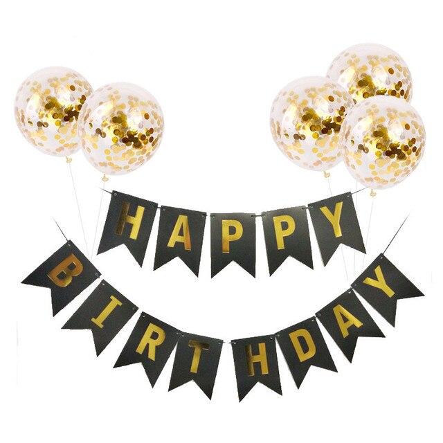 1set Gelukkige Verjaardag Brief Banner Rose Gold Confetti Ballonnen Baby Shower Verjaardagsfeestje Decoraties Jongen Meisje Kids Party Gunsten 1