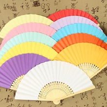 Wholesales 10PCS Folding Hand Held Bamboo Paper Fans 9 Colors Available Pocket Fan for Party DIY Decorations
