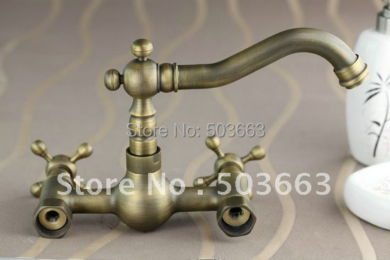 antique brass bathroom faucet. Wall Mounted Antique Brass Bathroom Faucet Kitchen Basin Sink Mixer Tap CM0135