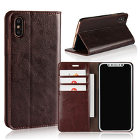GXE New Luxury Genuine Leather Magnet Flip Case For iPhone X 10 Wallet Coque + PC Back Cover For iPhone X Case With Slot Card