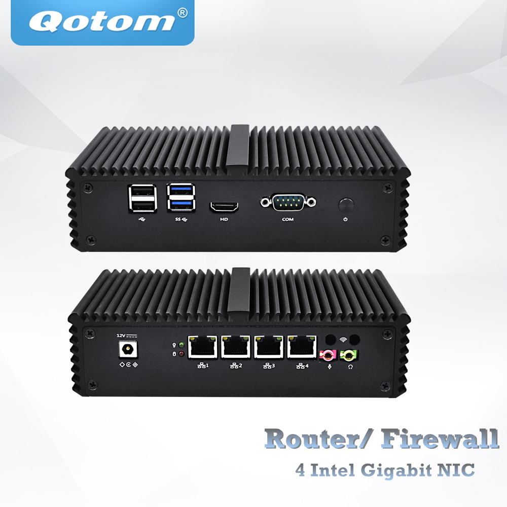 QOTOM Pfsense Mini PC with Core i3 i5 i7 processor and 4 Gigabit NICs, support AES-NI, Serial, Fanless Mini PC PFSense comfast full gigabit core gateway ac gateway controller mt7621 wifi project manager with 4 1000mbps wan lan port 880mhz cf ac200
