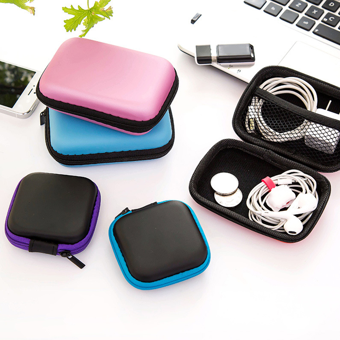 Portable 3Shapes Square Earphone Wire Organizer Box Data Line Cables Storage Box Case Container Coin Headphone Protective Box
