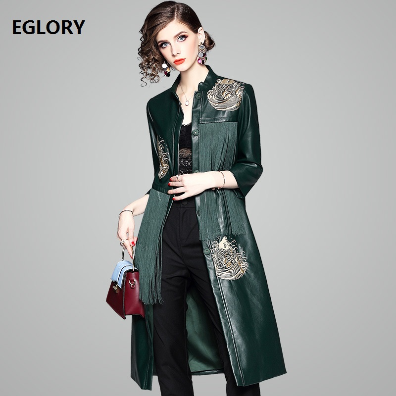 Top Quality Brand New Fashion Long Trench Coat Women Tassel PU   Leather   Embroidery Coat Windbreaker Female Casual Coat Overcoats