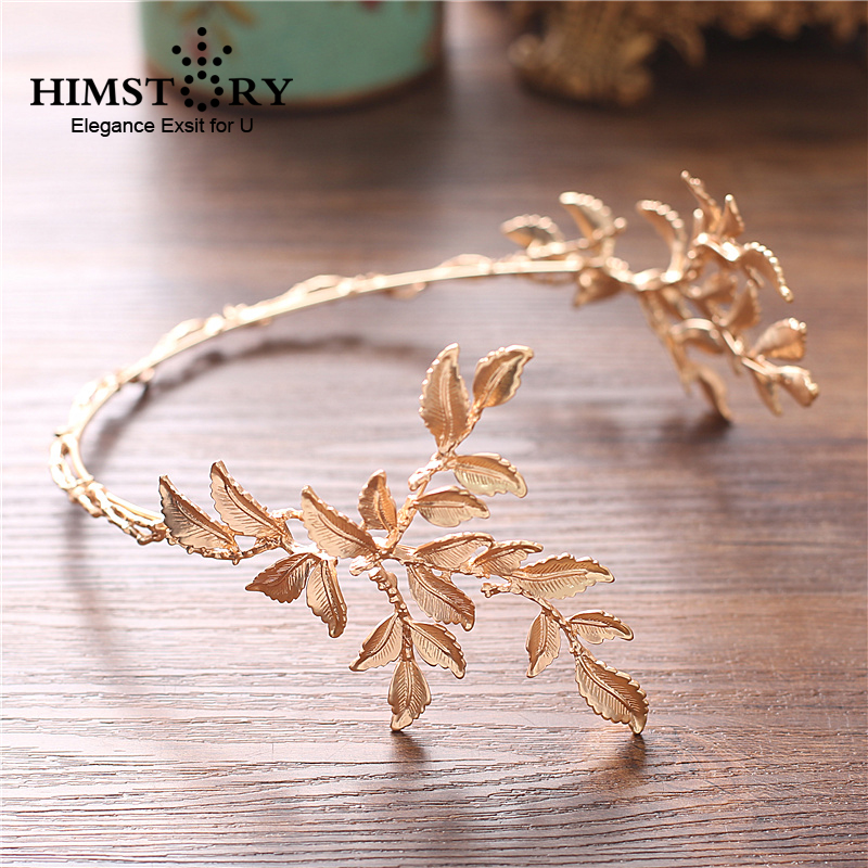 HIMSTORY Vintage Gold Baroque Leaf Headbands Crowns Wedding Hair Accessories Bridal Jewelry Headpieces tiaras