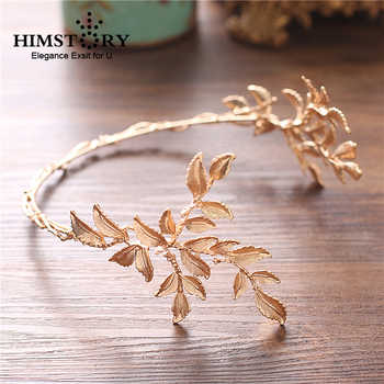 HIMSTORY Vintage Gold Baroque Leaf Headbands Crowns Wedding Hair Accessories Bridal Jewelry Leaf Headpieces tiaras - DISCOUNT ITEM  25% OFF All Category