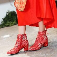 2017ผู้หญิงรองเท้าแต่งงานสีแดงรองเท้าส้นสูงเซ็กซี่แหลมนิ้วเท้าสีแดงแต่เพียงผู้เดียวรองเท้าแต่งงานC Haussure Escarpins Semelle Rougeบล็อกส้นเท้า