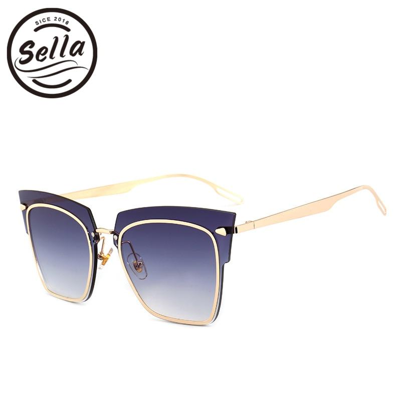 Sella 2018 New Arrival Luxury Brand Designer Fashion Women Oversized Rimless Square Sunglasses Trending Tint Lens Sun Glasses
