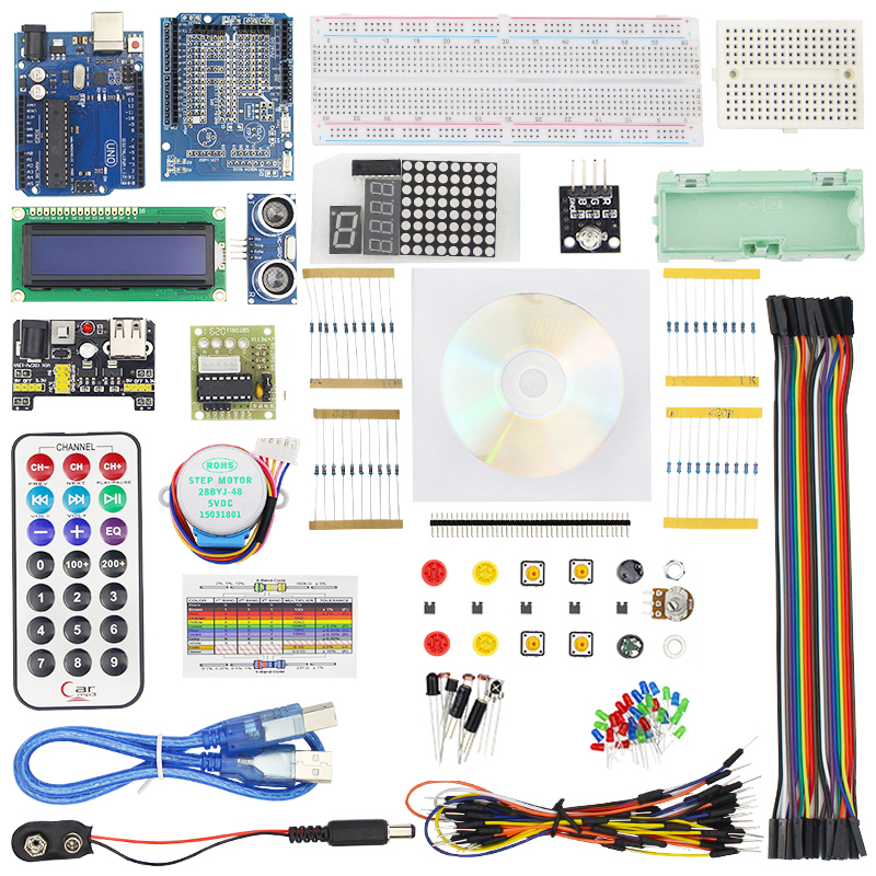Full Starter Kit for UNO R3 Step Motor Servo 1602 LCD Infrared Receiver Breadboard Jumper Wire Sensor Module for + Box uno r3 breadboard advance kit