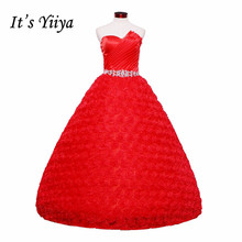 Free shipping YiiYa red wedding gowns 2015 new plus size lace Vestidos De Novia fashion cheap design bride wedding dresses HS170