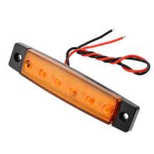 Mayitr 1Pcs 12V 6 LED Side Marker Indicators Lights Lamp For Car Truck Trailer Lorry Amber Bus Light Easy to Install