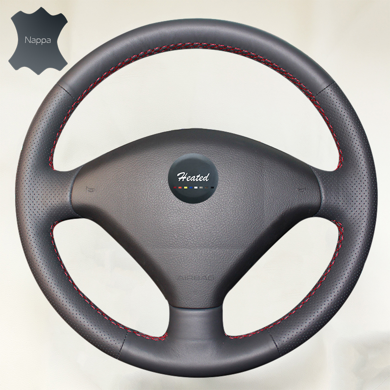 Genuine Leather Car Steering Wheel Cover for Peugeot 307 Soft Anti-slip Cowhide Cover Braid on the steering wheel Car-Styling цена